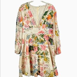 Chicwish Long Sleeve Floral Fit & Flare Dress
